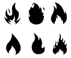 fogo abstrato coleção tocha desenho preto flamejante na ilustração de fundo branco vetor