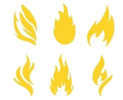fogo projeto tocha amarela coleção símbolo chama ilustração abstrata vetor no fundo