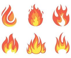 ilustração vetorial fogo tocha design abstrato chama com fundo branco vetor