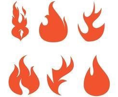 desenho de coleção de tocha de fogo com ilustração de chama com fundo branco vetor