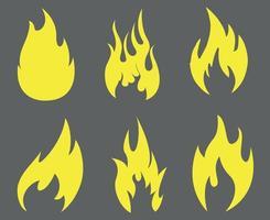 Coleção de tocha de fogo flamejante amarelo abstrato em fundo cinza ilustração design vetor