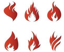 fogo flamejante tocha vermelha coleção resumo no fundo branco ilustração design vetor