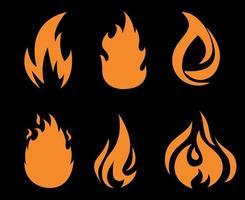 coleção de fogo tocha laranja flamejando no fundo preto ilustração abstrata design vetor