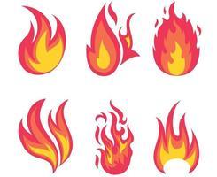 coleção fogo tocha flamejante no fundo branco ilustração abstrata design vetor