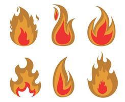 desenho de ilustração de coleção de fogo de tocha flamejando com chama com fundo branco vetor