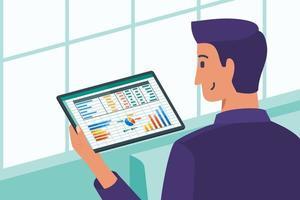 gerente de negócios verificando o crescimento dos dados da empresa vetor