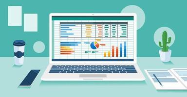 programa de contabilidade na tela do laptop vetor