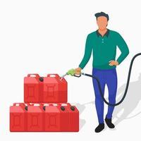 homem acumulando gasolina usando galões vermelhos vetor