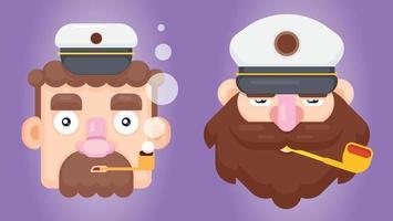 conjunto de dois capitães ou capitães de navio barbudo com um tubo e uma tampa pontiaguda. design plano ilustração vetorial de marinheiro de fumar. vetor
