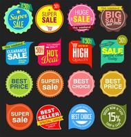 adesivos modernos de venda e etiquetas coleção colorida vetor