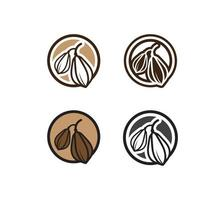 logotipo do chocolate e ícone de cacau e desenho vetorial noz e noz deliciosas vetor