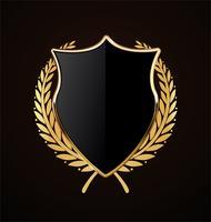 design retrô de escudo dourado vetor