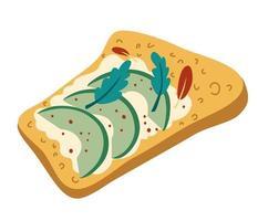 Torrada de Abacate. café da manhã saudável. pão torrado com abacate e queijo cottage e ervas. delicioso sanduíche de abacate. comida vegetariana. mão desenhada ilustração vetorial. vetor