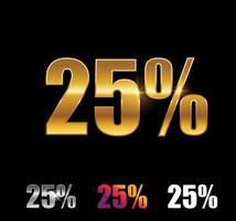 sinal de 25 por cento dourado e prateado vetor