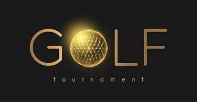 conceito de tornamento de golfe com bola de golfe dourada vetor