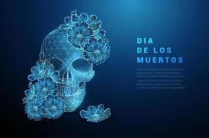 scull com flores. conceito de dia de los muertos. vetor