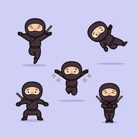 desenho ninja japonês fofo vetor