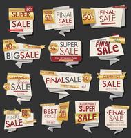 Coleção de vetores de estilo Vintage venda Tags Design