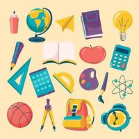 conjunto de ícones de material escolar de desenho animado colorido vetor