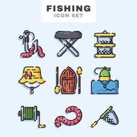 conjunto de ícones de pesca vetor