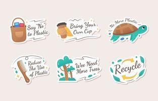 adesivo de ativismo para reduzir o uso de plástico vetor
