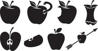 conjunto de ícones de maçãs vetor