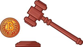 martelo do juiz e bitcoin vetor