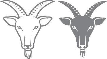 cabeça de cabra preta e branca vetor