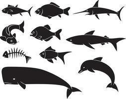 conjunto de ícones de peixes vetor