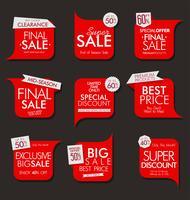 Coleção de banners e etiquetas de venda moderna