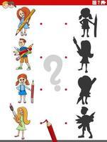 jogo de sombra educacional com personagens de desenhos animados vetor