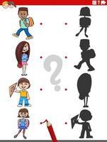 jogo de sombra educativo com personagens infantis de desenhos animados vetor