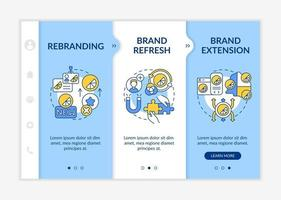modelo de vetor de integração de mudança de identidade de marca. site móvel responsivo com ícones. passo a passo da página da web telas de 3 etapas. rebranding, conceito de extensão de cor com ilustrações lineares
