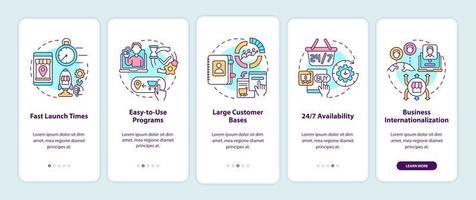 benefícios do mercado on-line ao integrar a tela da página do aplicativo móvel. grandes bases de clientes percorrem 5 etapas de instruções gráficas com conceitos. modelo de vetor ui, ux, gui com ilustrações coloridas lineares