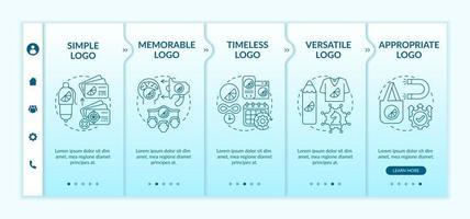 modelo de vetor de integração de regras fundamentais de design de logotipo. site móvel responsivo com ícones. passo a passo da página da web telas de 5 etapas. conceito de cor de logotipo memorável e atemporal com ilustrações lineares