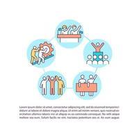 ícones de linha de conceito de ação coletiva com texto. modelo de vetor de página ppt com espaço de cópia. folheto, revista, elemento de design de boletim informativo. ilustrações lineares de melhoria de comunidade em branco