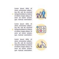 ícones de linha de conceito de triagem de desenvolvimento e comportamento com texto. modelo de vetor de página ppt com espaço de cópia. folheto, revista, elemento de design de boletim informativo. ilustrações lineares de autismo em branco