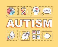 banner de conceitos de palavra de autismo. problemas com a interação de pessoas. infográficos com ícones lineares em fundo amarelo. tipografia criativa isolada. ilustração colorida do contorno do vetor com texto