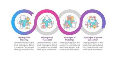 modelo de infográfico de vetor de uso de hidrogênio. h2 em elementos de design de estrutura de tópicos de apresentação da indústria. visualização de dados com 4 etapas. gráfico de informações da linha do tempo do processo. layout de fluxo de trabalho com ícones de linha