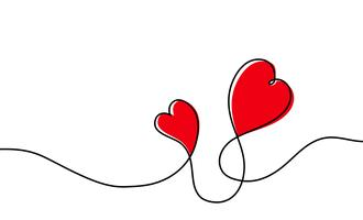 Contínua linha um desenho do coração vermelho isolado no fundo branco. Ilustração vetorial