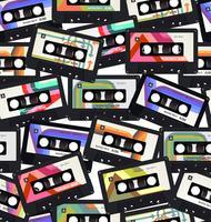 Padrão sem emenda com fundo colorido de cassetes de áudio antigo