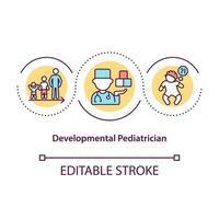 ícone do conceito de pediatra de desenvolvimento. trabalhadores médicos especiais que ajudam autistas. ilustração de linha fina de idéia abstrata de tratamento de desordem. desenho de cor de contorno isolado vetor. curso editável vetor
