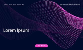 Página de aterrissagem abstrata do Web site com projeto dos pontos de intervalo mínimo