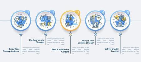 técnicas de conteúdo de valor movimentado vetor modelo infográfico. visando elementos de design de esboço de apresentação. visualização de dados com 5 etapas. gráfico de informações da linha do tempo do processo. layout de fluxo de trabalho com ícones de linha