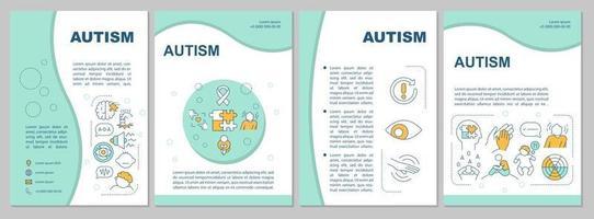 modelo de folheto de autismo. problemas de comportamento e de interação. folheto, livreto, impressão de folheto, design da capa com ícones lineares. layouts de vetor para apresentação, relatórios anuais, páginas de anúncios