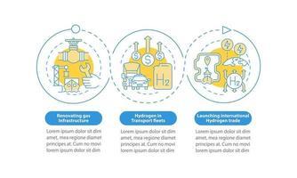 promovendo o modelo de infográfico de vetor h2 verde. elementos de design de estrutura de tópicos de apresentação de comércio internacional. visualização de dados com 3 etapas. gráfico de informações da linha do tempo do processo. layout de fluxo de trabalho com ícones de linha