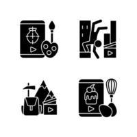 ícones de glifo preto de vídeo da Internet definidos no espaço em branco. tutorial de desenho. imagens de parkour. vlog de viagens. aula de culinária online. videografia. símbolos de silhueta. ilustração isolada do vetor