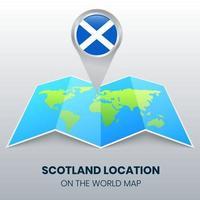 ícone de localização da Escócia no mapa mundial, ícone de alfinete redondo da Escócia vetor