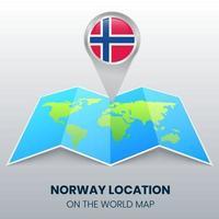 ícone de localização da Noruega no mapa mundial, ícone de alfinete redondo da Noruega vetor