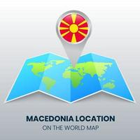 ícone de localização da Macedônia no mapa mundial, ícone de alfinete redondo da Macedônia vetor
